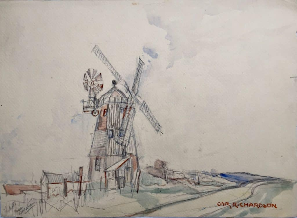 Painting of Balsham Windmill