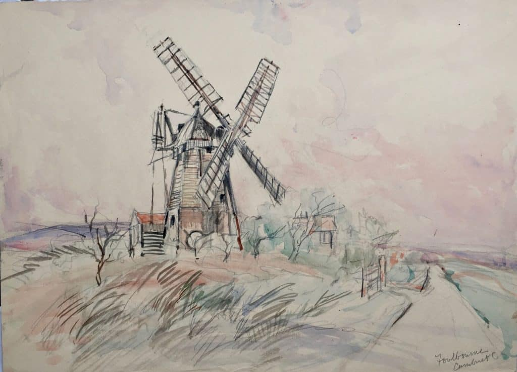 Painting of Cambridge, Foulbourne ?? Windmill