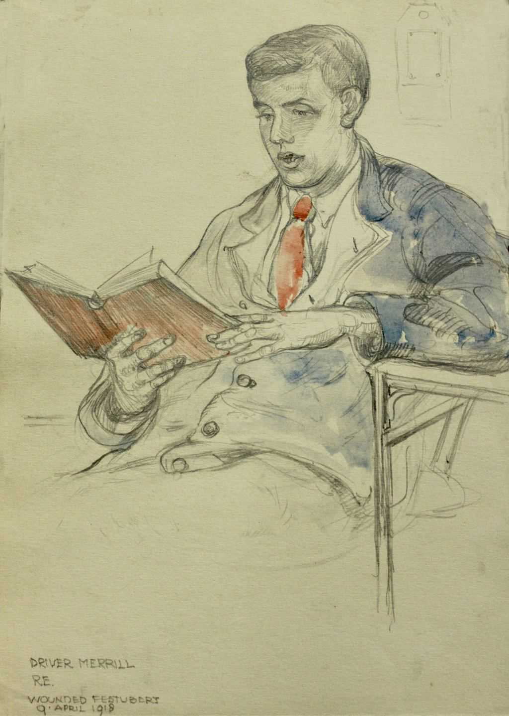 Sketch of Driver MERRILL RE / Wounded Festubert 9 April 1918