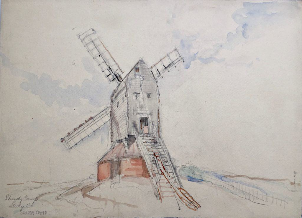 Painting of Shudy Camps windmill