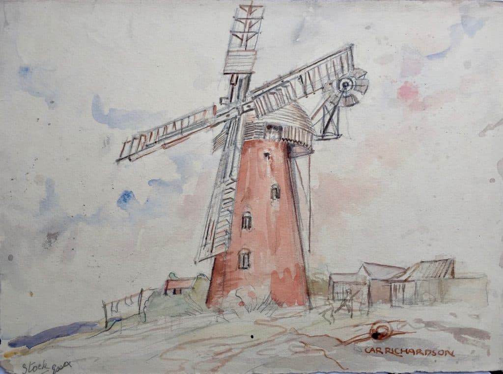 Painting of Stock, Essex windmill