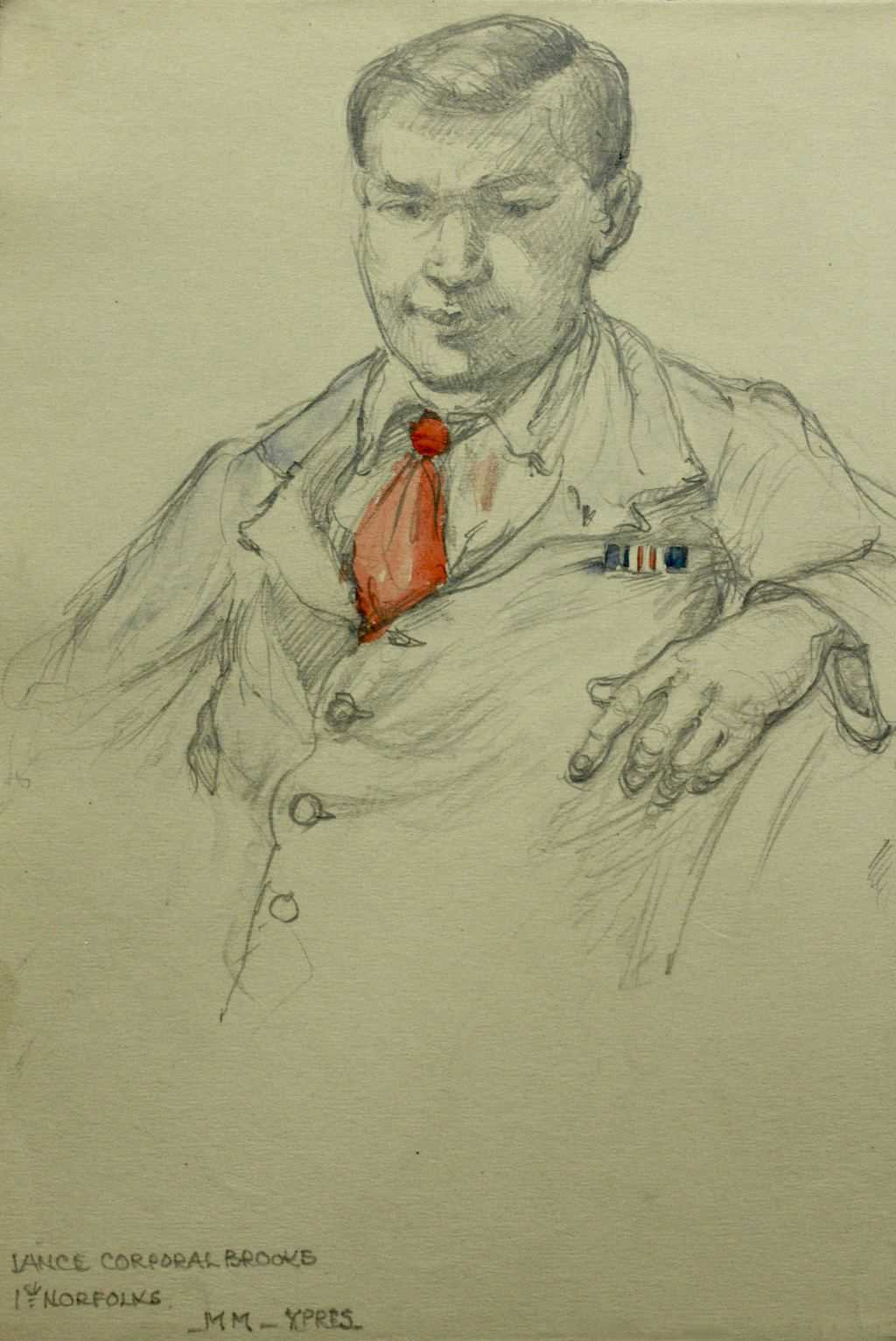 Sketch of Lance Corporqal BROOKS 1st Norfolks / MM Ypres