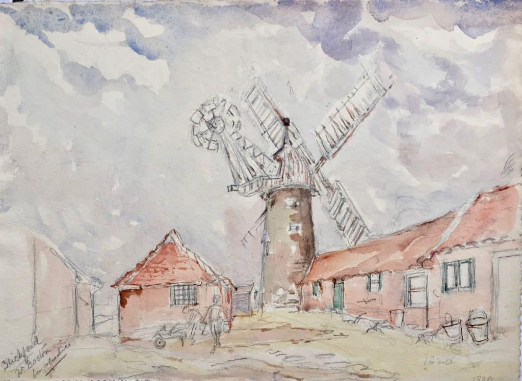 Painting of Stickford windmill