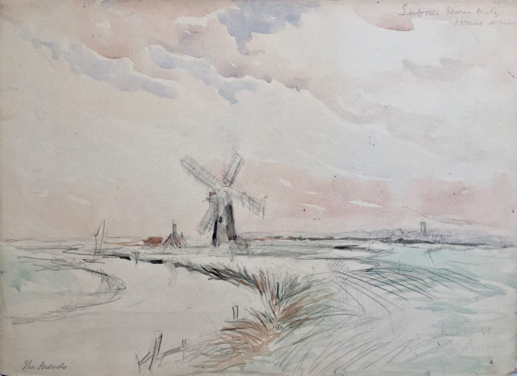 "Painting if windmill entitled ""The Broads"""