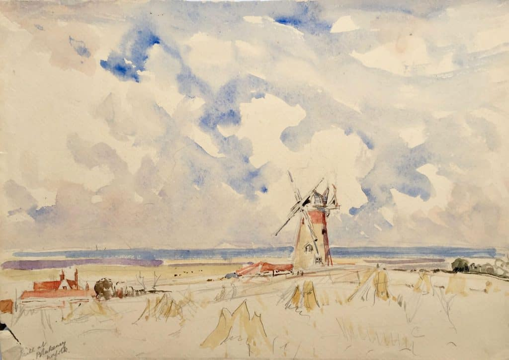 Painting of mill at Blakeney