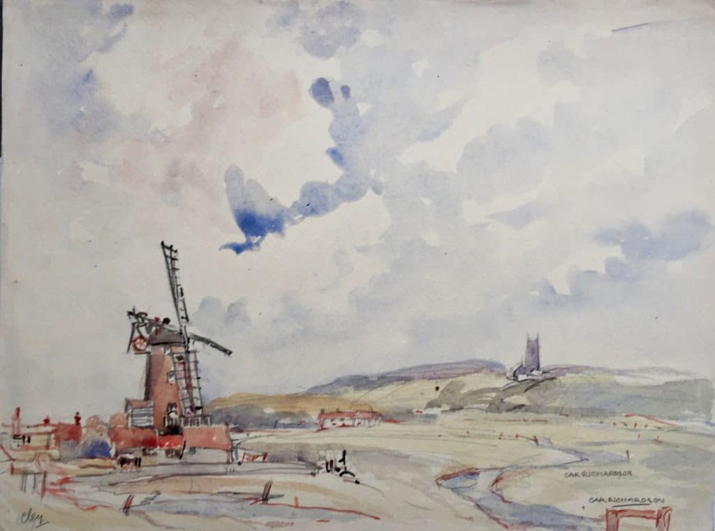 Painting by Caroline Richardson of Cley windmill