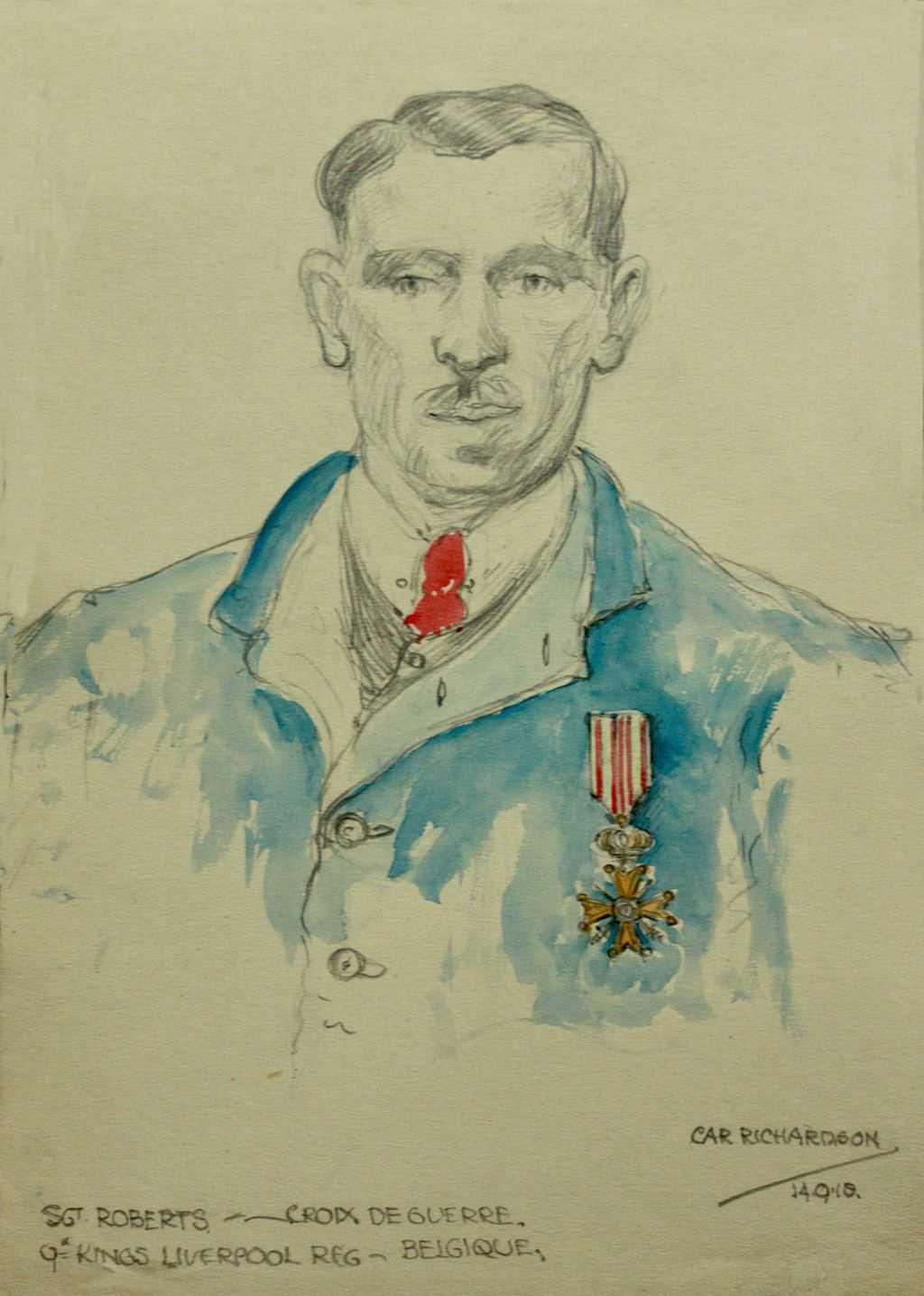 Sketch of Sgt ROBERTS 9th Kings Liverpool Reg. / Croix de Guerre Belgique / dated 14.9.18