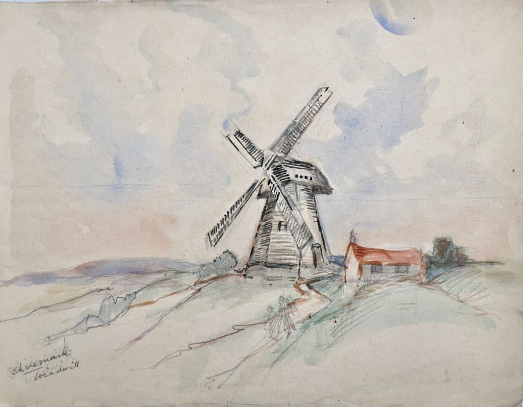 Painting of Shiremark windmill