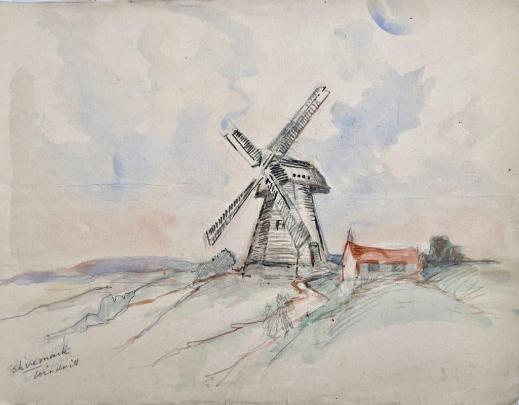 Painting of Shiremark windmill