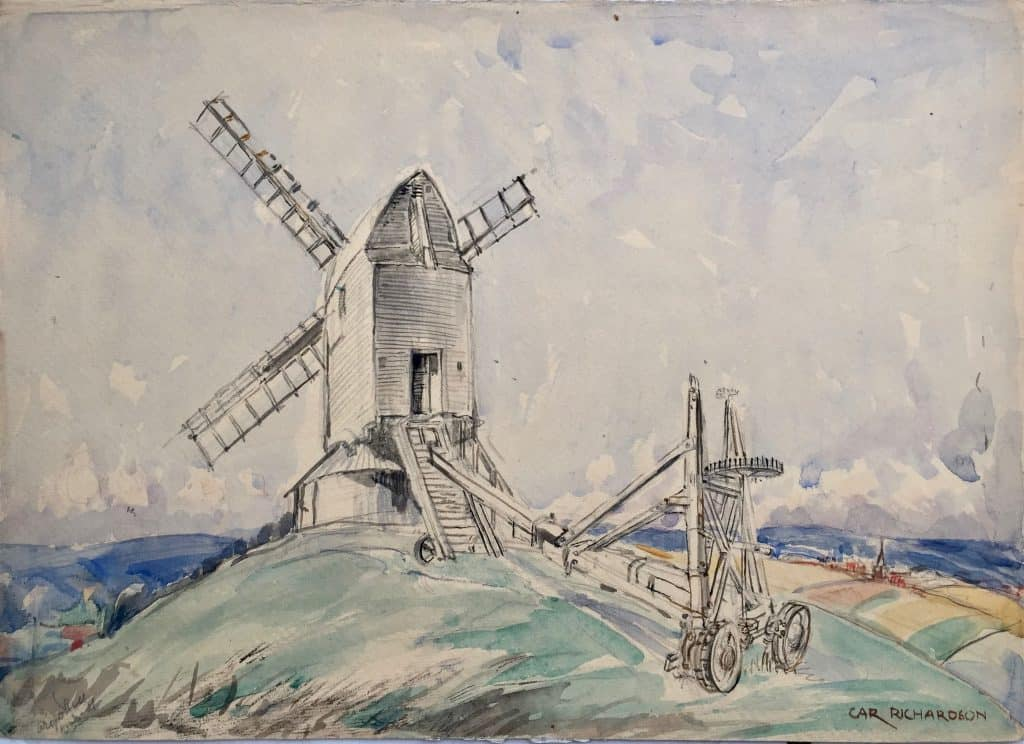 Painting by Caroline Richardson of Argos windmill