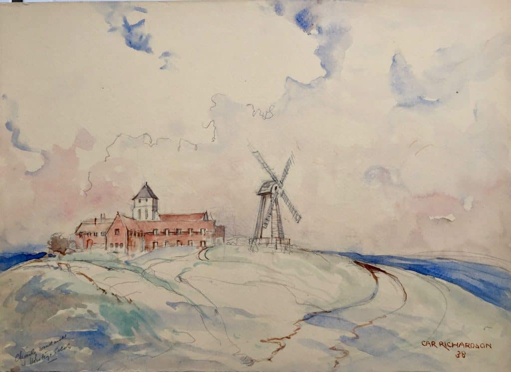Painting by Caroline Richardson of the Heritage Mill and nearby school, Chailey