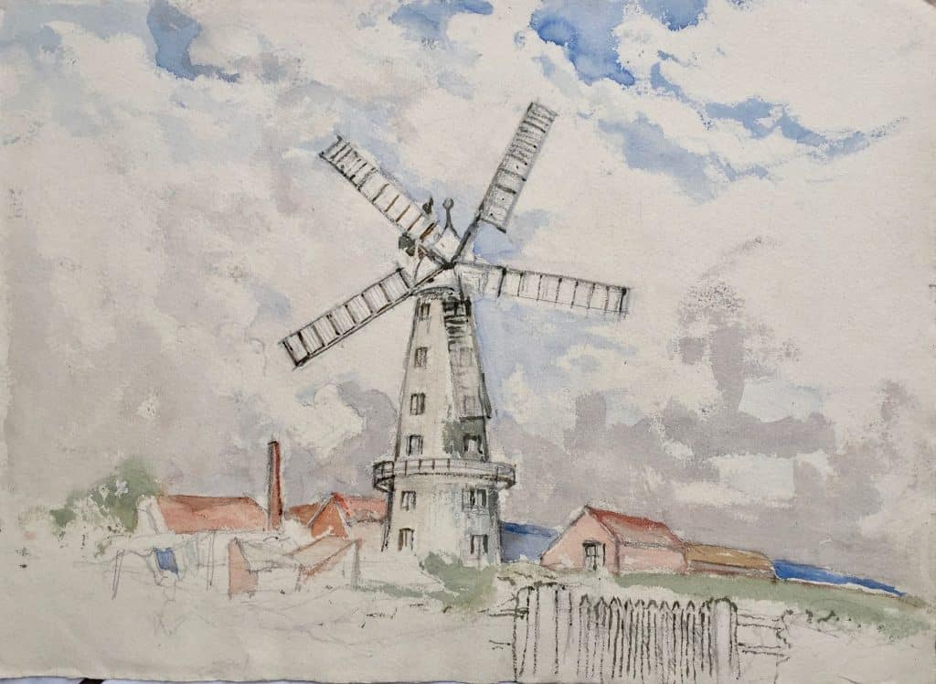 Painting by Caroline Richardson of Alford windmill