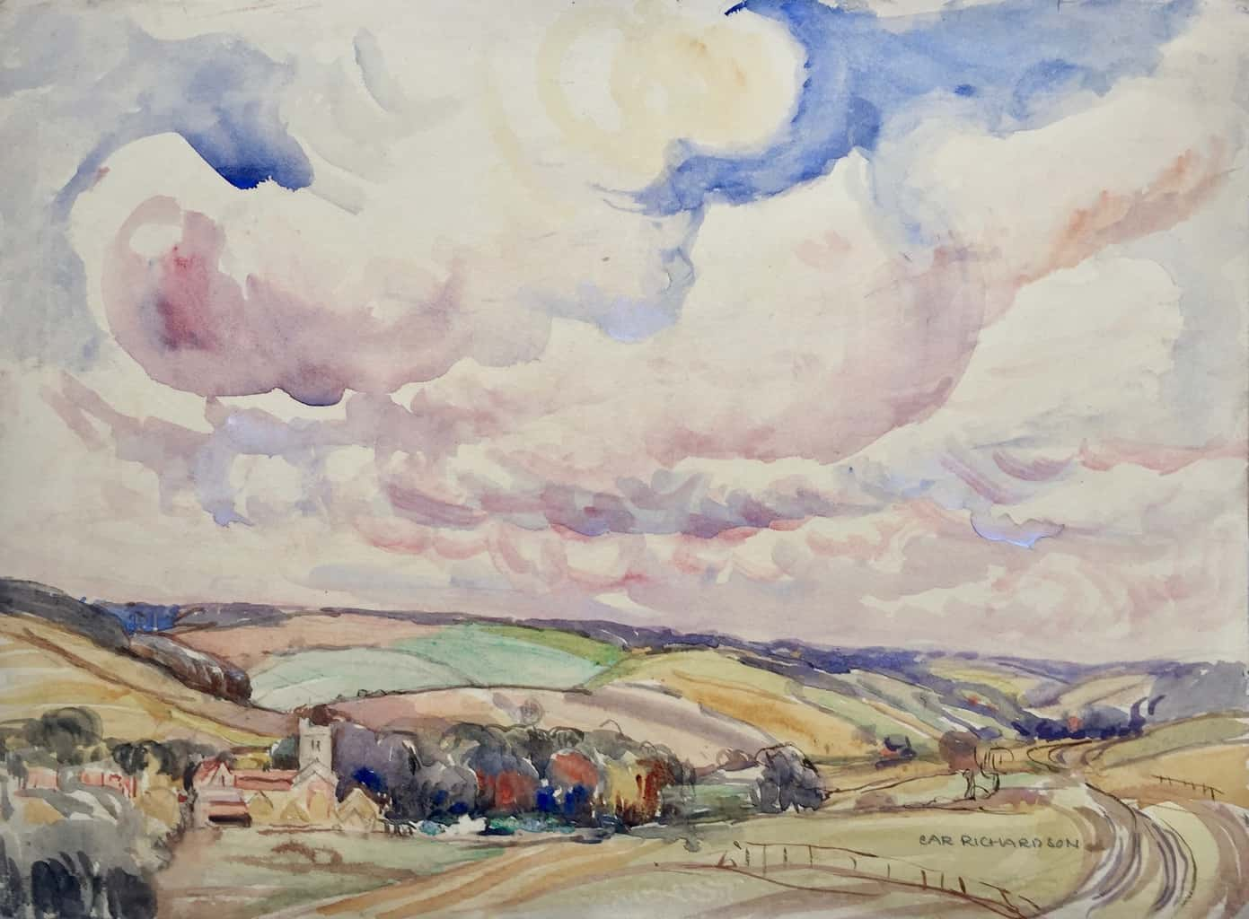Painting untitled but of Little Missenden