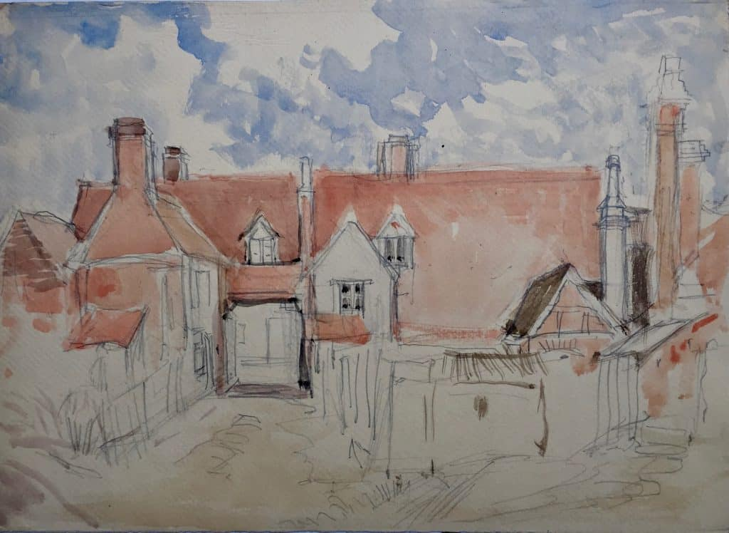 Painting of Yard way, probably Amersham