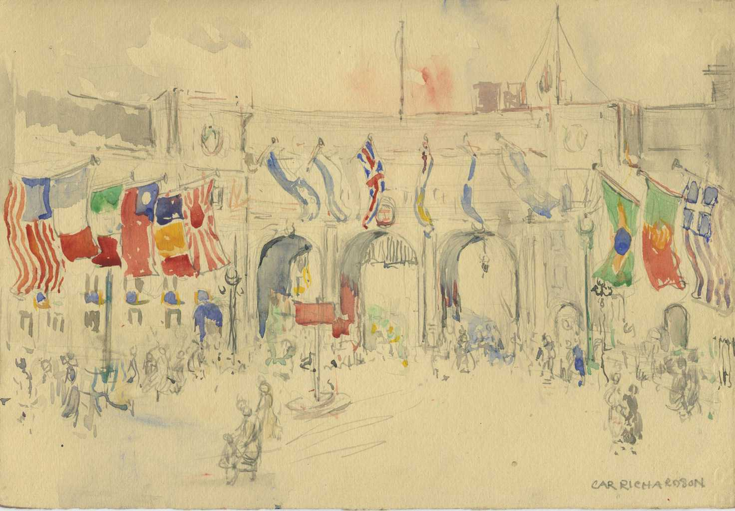 Painting of Marble Arch from Trafalger Square