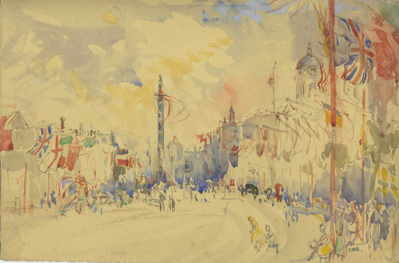 Painting of Nelson's Column from Horse Guards