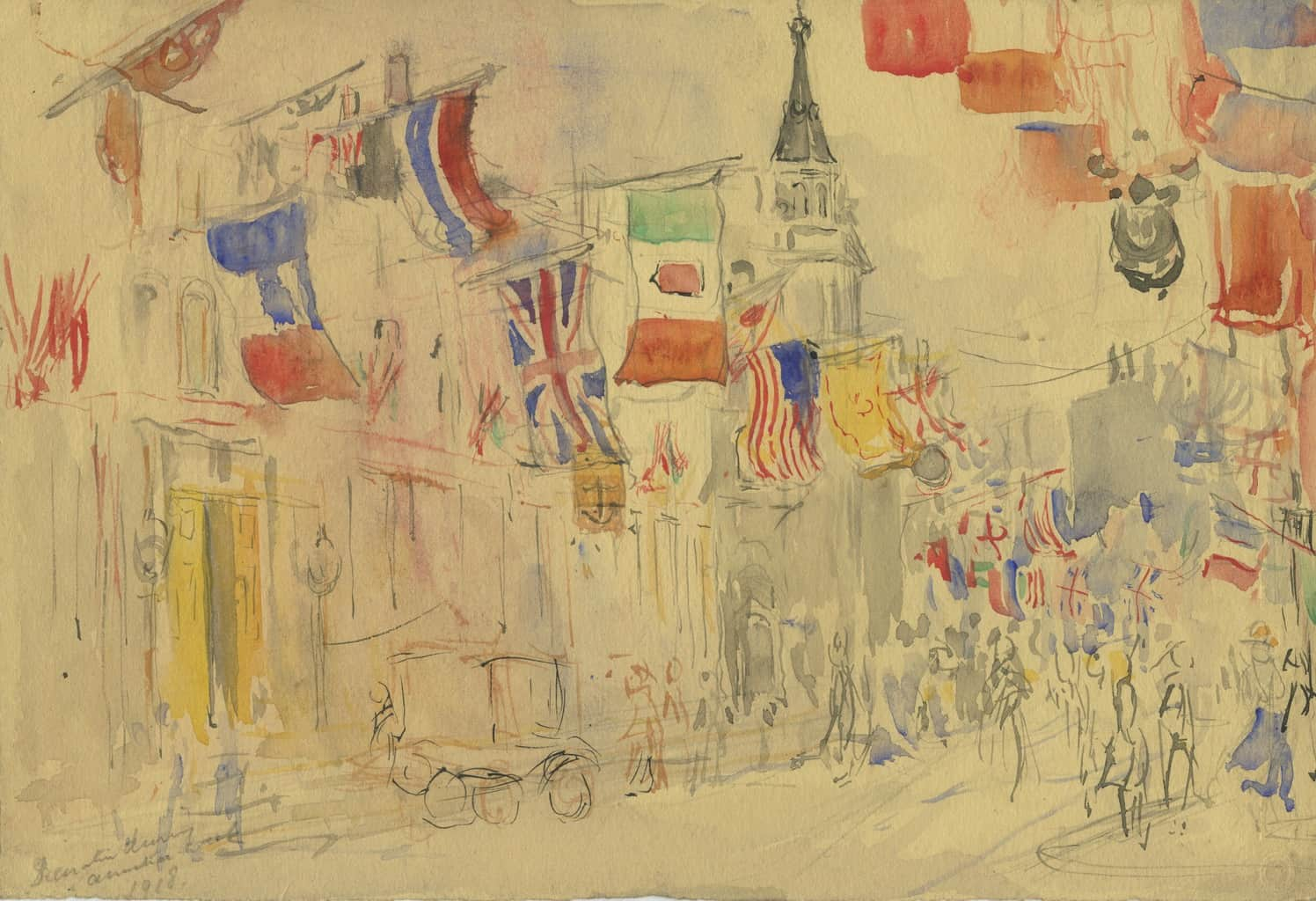 Painting of Pall Mall? with St Martin-in-the Fields behind