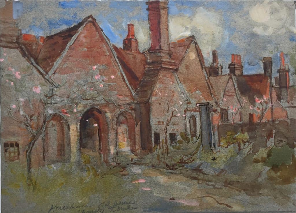 Painting of Drake's Almshouses