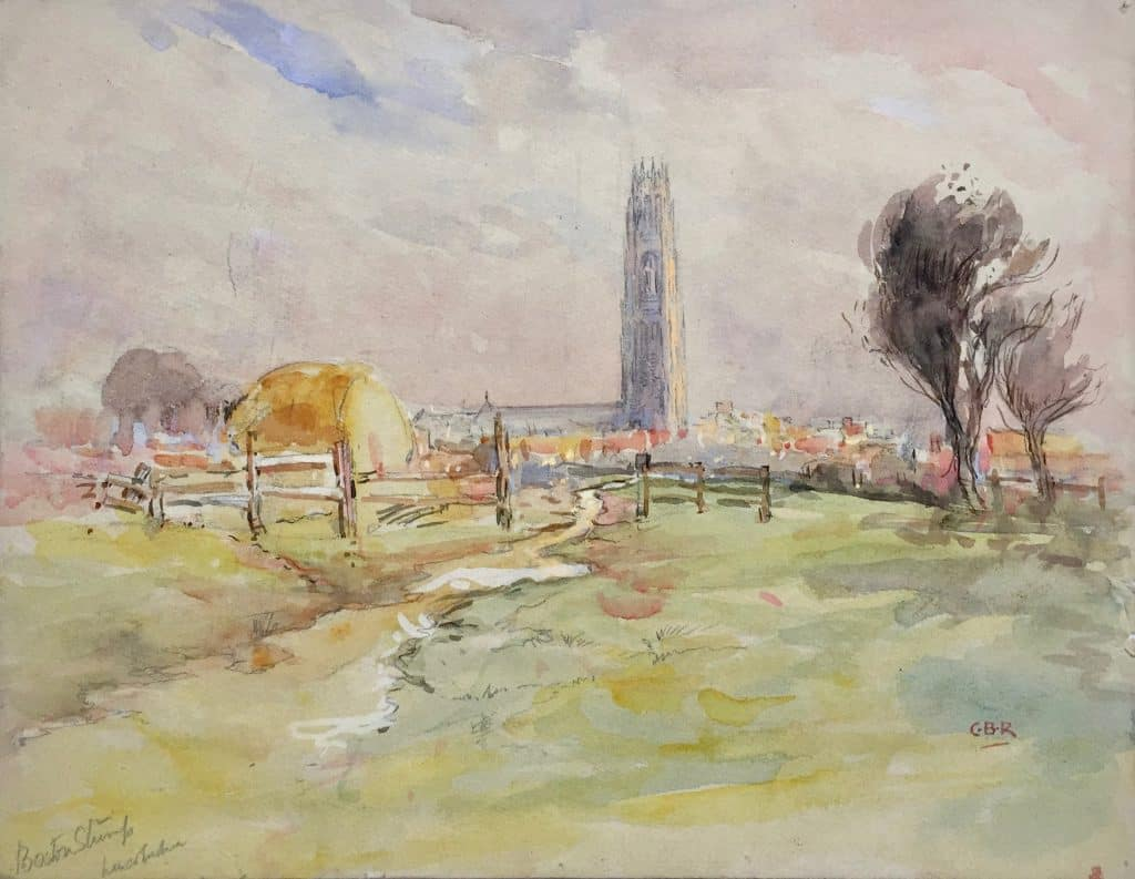 Painting of Boston stump from fens