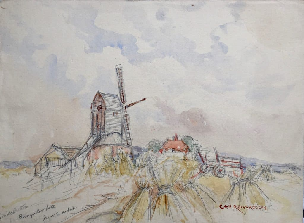 Painting of Six Mile Bottom Windmill