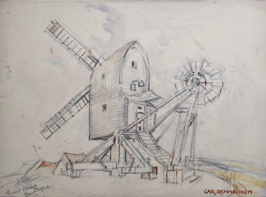 Painting of Great Chishill Windmill