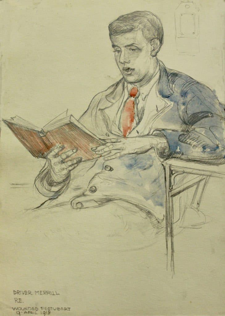 Sketch of Driver MERRILL RE / Wounded Festubert 9 April 1918