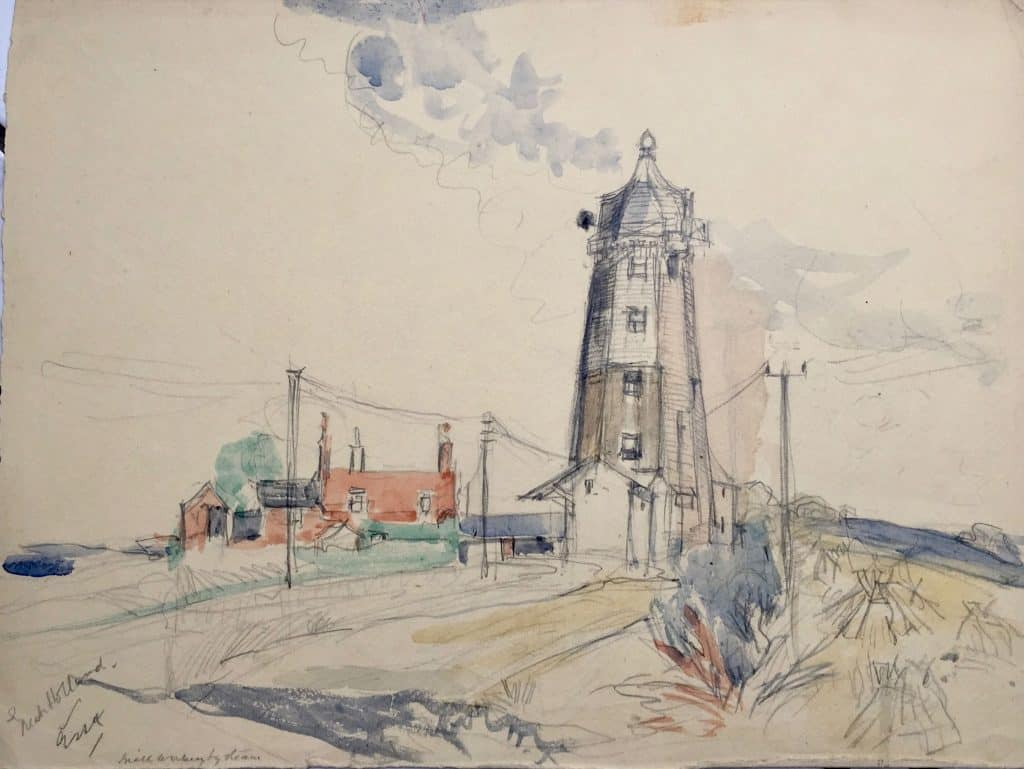 Painting of Great Holland windmill