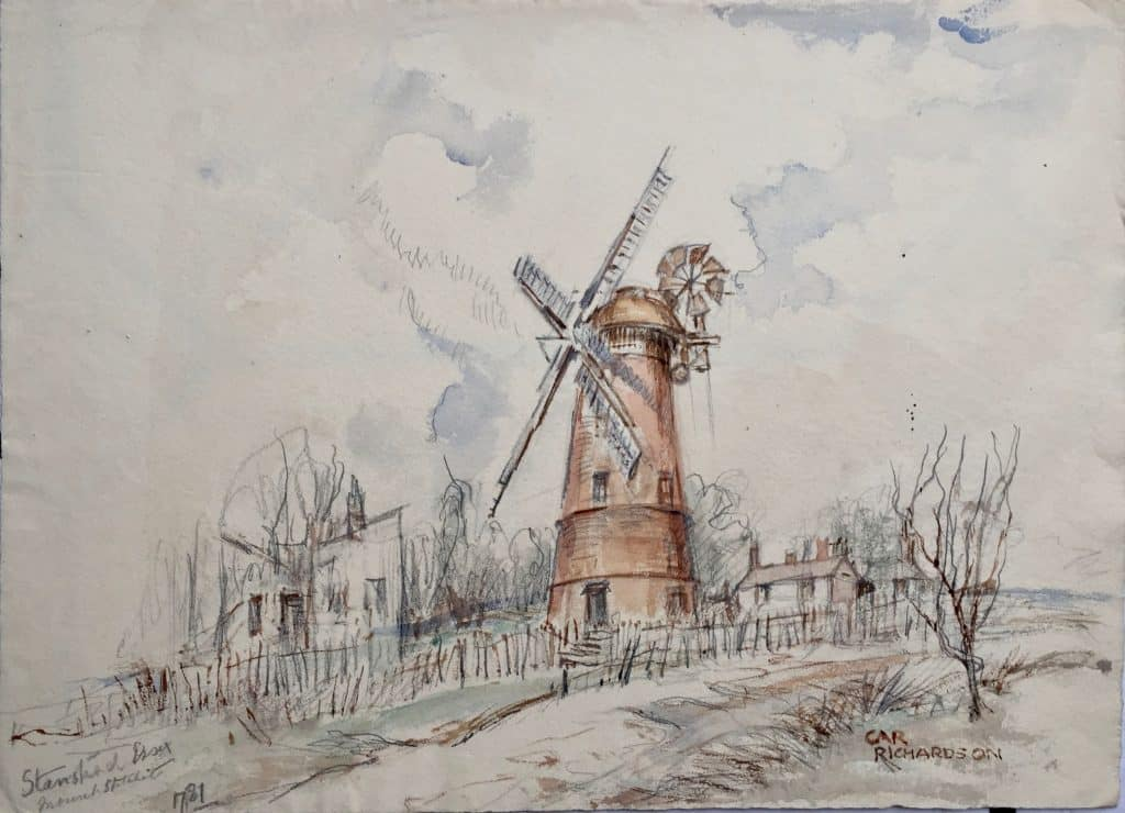 Painting of Stansted Mount Fitchet windmill