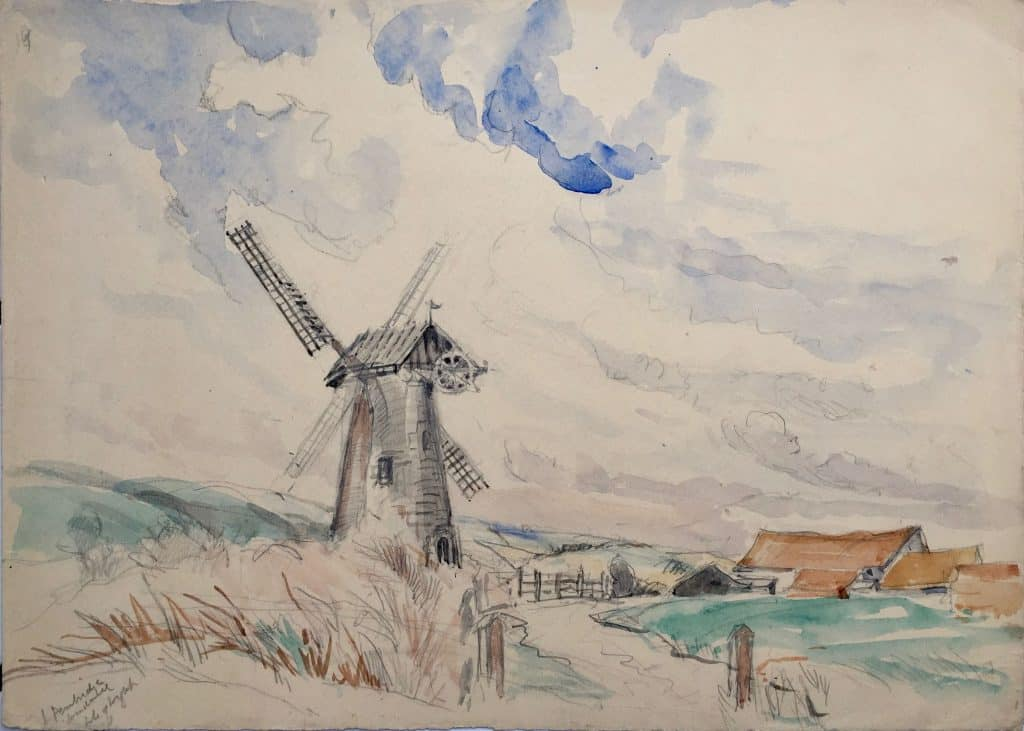 Painting of Pembridge windmill Isle of Wight