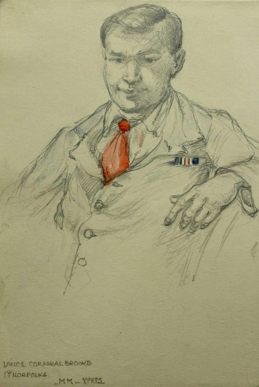 Sketch of Lance Corporqal BROOKS 1st Norfolks / MM Ypres