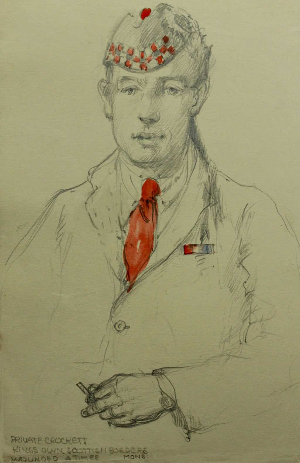 Sketch of Private CROCKETT Kins Own Scottish Borders / Wounded Atimee? Mons