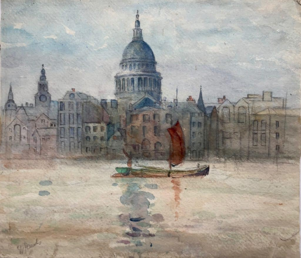 Painting of St Paul's from the River Thames