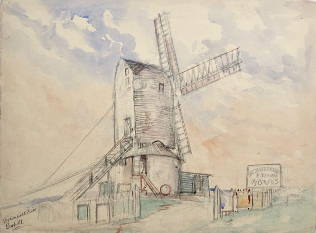 Painting by Caroline Richardson of Down Hill windmill