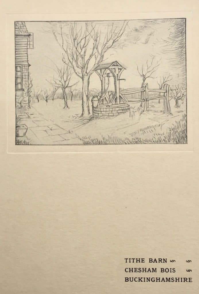 Etching of the well at The Tithe Barn