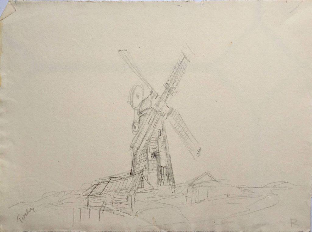Painting by Caroline Richardson of Terling windmill