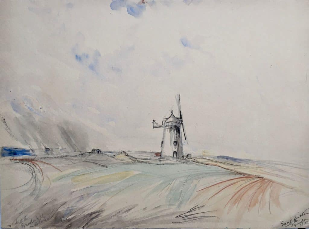 Painting by Caroline Richardson of Great Haseley windmill