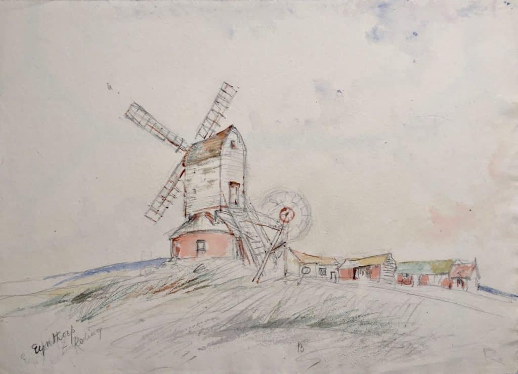 Painting by Caroline Richardson of Aythorpe Roding windmill