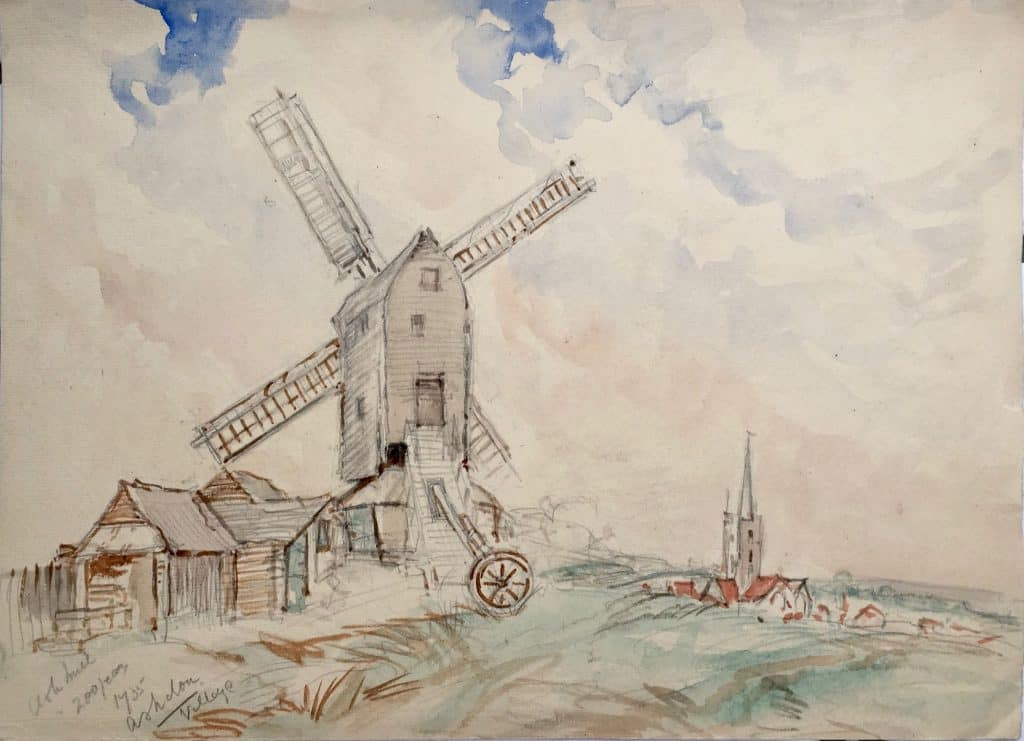 Painting of Ashdon windmill