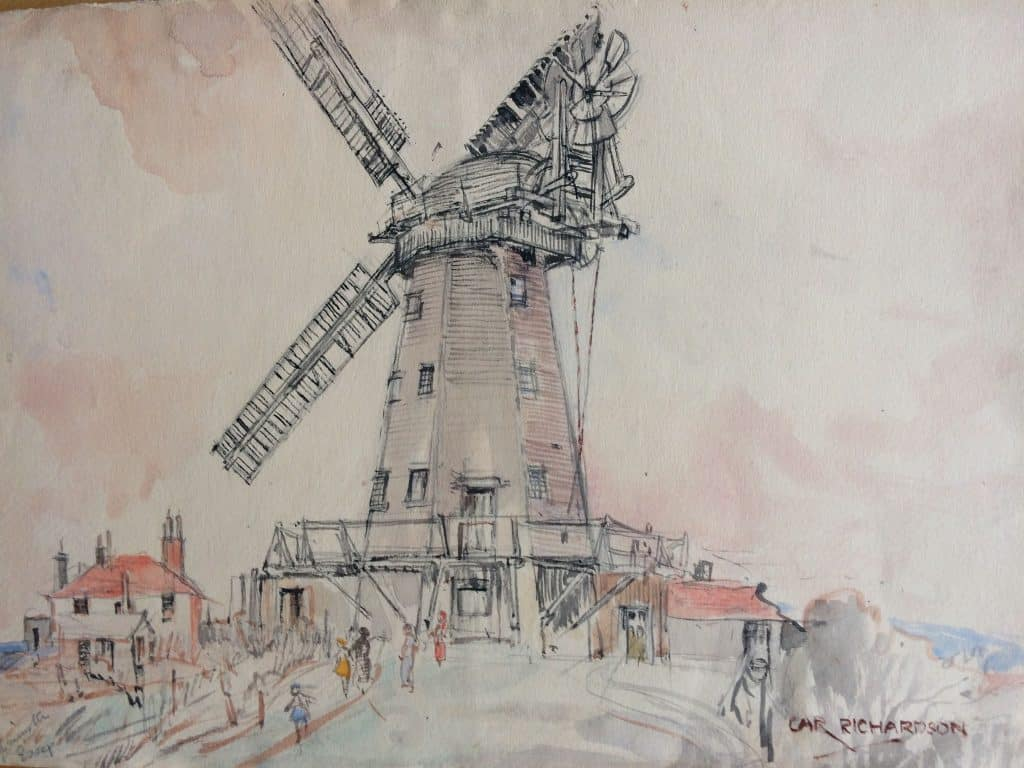 Painting by Caroline Richardson of Upminster windmill